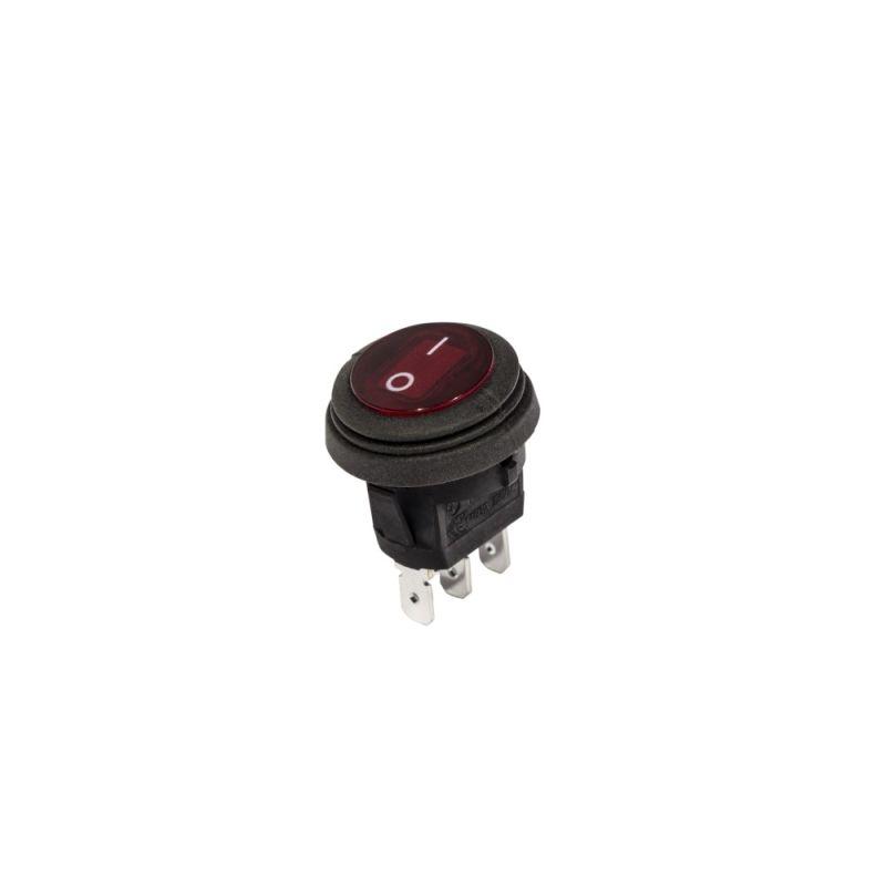 KC Illuminated LED Rocker Light Switch - 2 Pos - Round - Red