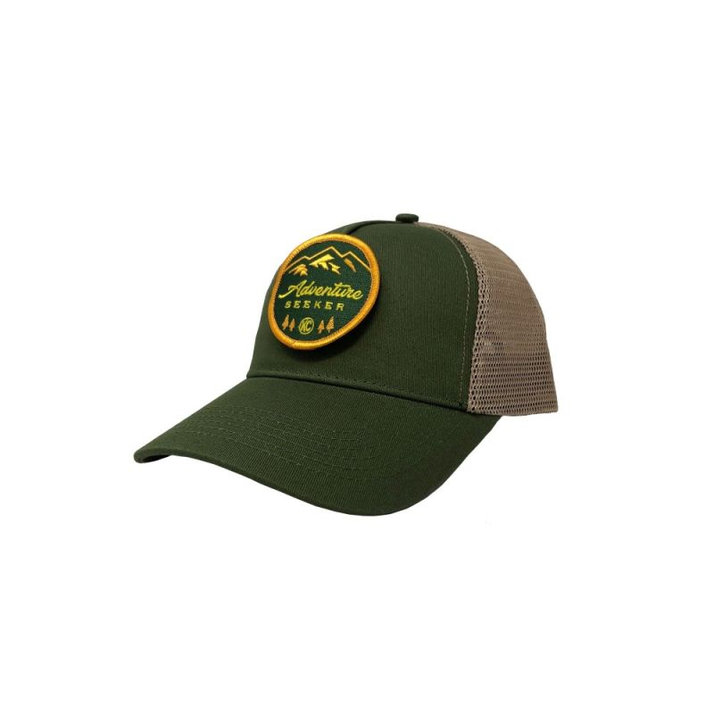 Adventure Seeker Hat (with Removable Patch) - Green / Tan Mesh - One Size