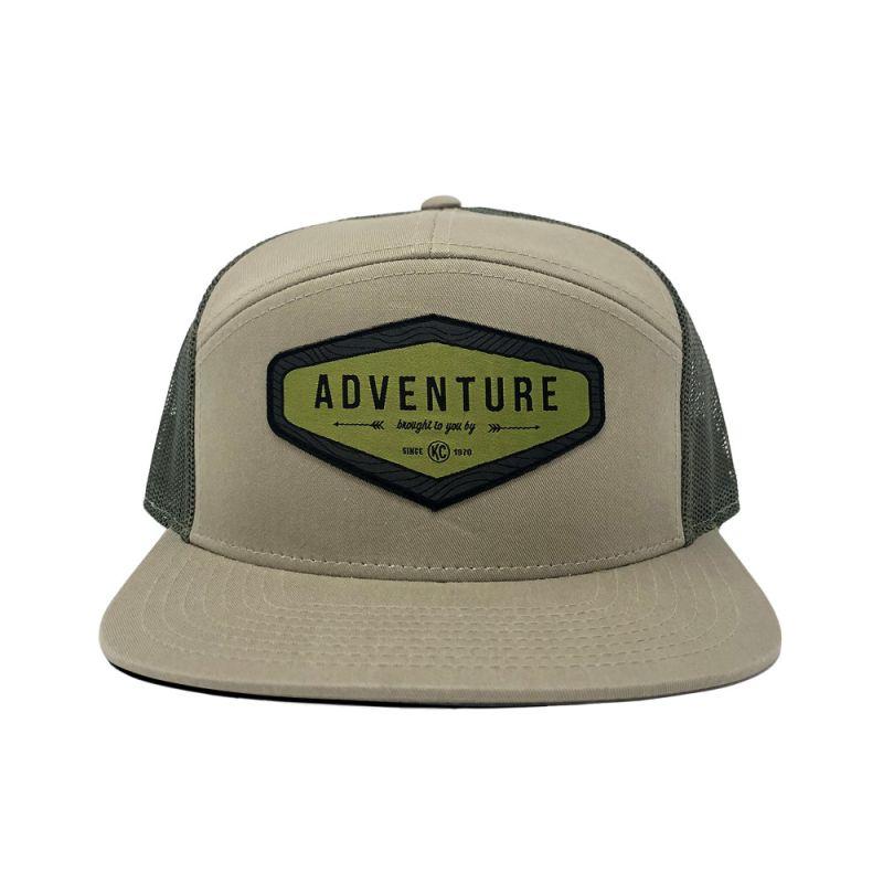 Adventure Flat Bill Hat - Tan / Green Mesh - One Size