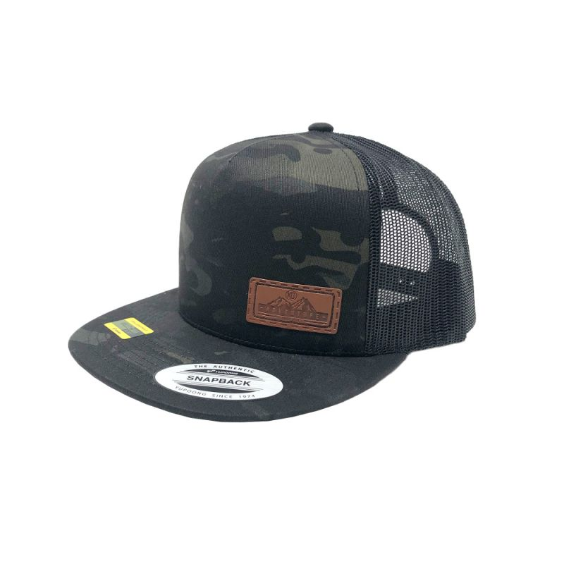 KC Adventure Flat Bill Snapback Hat - Leather Patch - Black MultiCam - One Size