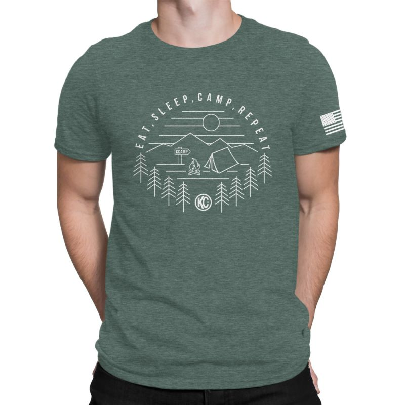 KC Eat Sleep  Camp Repeat Tee Shirt - Pine - Large