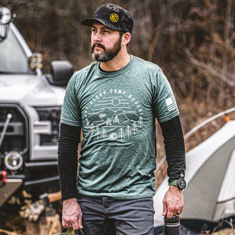 KC Eat Sleep  Camp Repeat Tee Shirt - Pine - 3X-Large