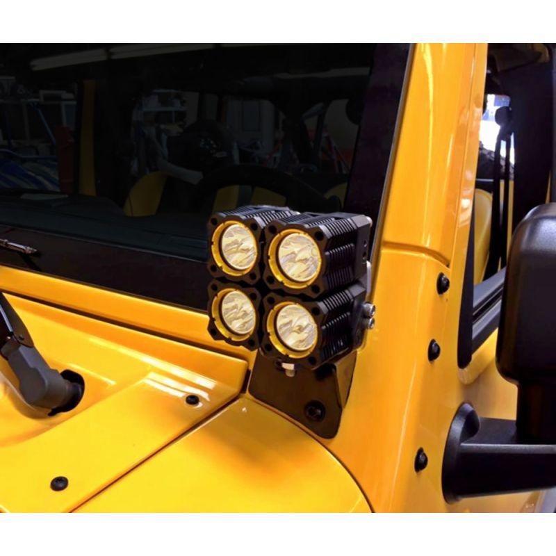 Bracket Set - Light Mount - Windshield - Pillar Mount - Pair - for 07-18 Jeep JK